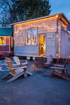 The Skyline is a 160 sq. ft. tiny home on wheels in Portland, Oregon's Caravan Tiny House Hotel. Hotel guests can choose from a variety of other tiny houses on trailers to spend the night in depend...