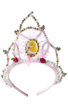 Whether awake or dreaming like Sleeping Beauty waiting for true love's kiss, your Aurora would not be complete without her tiara, perfect for a princess with golden hair! Harry Potter Quidditch, Pretty Pink Princess, Pretty In Pink, Fancy Dress Accessories, Costume Accessories, Sleeping Beauty Fancy Dress, Baguettes Harry Potter, Official Disney Princesses, Disney Dress Up