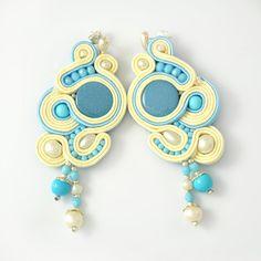 Vaniglia blu post soutache orecchini porta lucido da sposa damigella d'onore istruzione penzolare mano ricamato regalo per donna