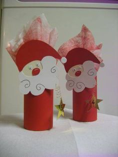 Santa Christmas Art Project for kids Kids Crafts, Christmas Crafts For Kids, Preschool Crafts, Kids Christmas, Holiday Crafts, Diy And Crafts, Christmas Decorations, Christmas Ornaments, Toilet Paper Roll Crafts