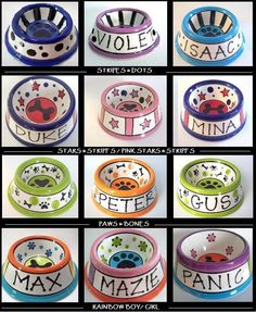 Feed Your Dog in Style - PERSONALIZED Custom Dog Bowl -Paws N' Bones small. $30.00, via Etsy.