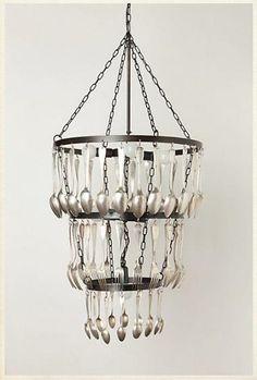 diy spoon fork silver chandelier