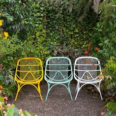 Rain or shine, these colorful, all-weather wicker chairs will have a place in our gardens. Image via Instagram shopTerrain.
