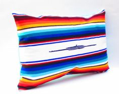 Mexican Pillow, Mexico Home Decor, Colorful Striped Pillow, Lumbar Pillow, Serape Fabric, Mexican Cushion, Colorful, Aztec