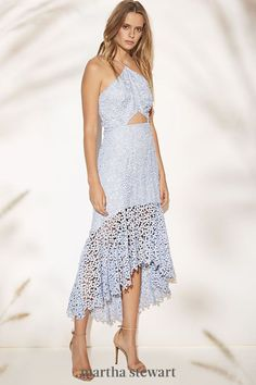 Featuring a halter neck, open back, triangle cutout, and intricate trim detailing, a light blue dress like this is perfect for a guest to wear to a summertime wedding. #weddingideas #wedding #marthstewartwedding #weddingplanning #weddingchecklist Summer Wedding Guests, Plunge Dress, Light Blue Dresses, Mom Outfits, Designer Wedding Dresses, Wedding Attire, Types Of Fashion Styles, Dress Making, Bridal Gowns