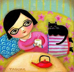 ORIGINAL painting GREEN tea and black cat on sofa by tascha