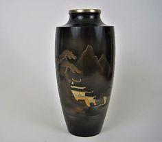 Vtg-Asian-Vase-Japanese-Pagoda-Scene-Black-Copper-Gold-Design-Embossed-Japan