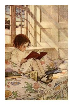 As a child my favorite thing to do--read.  Illustration by Jessie Willcox Smith