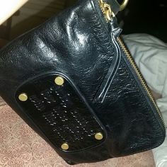 ,⤵⤵Price drop Juicy huge wristlet/clutch authentic Black leather juicy couture for nice girls who like stuff,   5 1/2 long 7 inch wide  , used once, like new in great condition..flash sale over Juicy Couture Bags Clutches & Wristlets