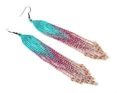 Long beaded dangle earrings  beadwork jewelry  by Anabel27shop