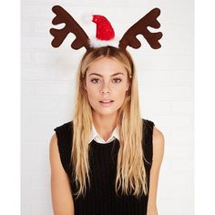 Fantasia Accessories  Santa Hat Reindeer Antlers Headband ($9.90) ❤ liked on Polyvore featuring costumes, brown, wet seal, holiday costumes, santa claus suit, santa halloween costumes, white costume and santa suit