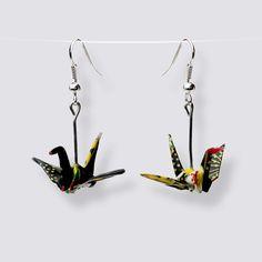 Origami Crane Earrings - HZ-013 Origami Artist, Japanese Paper, Japanese Culture, Handmade Accessories, Crane, Great Gifts, Bird, Earrings, Pattern