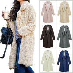 New Womens Warm Faux Fur Coat Trench Fluffy Jacket Parka Overcoat Winter Outwear Winter Coats Women, Coats For Women, Jackets For Women, Clothes For Women, Women's Jackets, Cardigan Casual, Cardigan Fashion, Winter Trends, Warm Sweaters