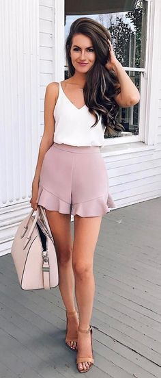 #summer #outfits White Tank + Blush Ruffle Short + Nude Sandals