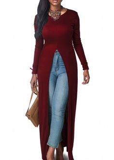 Wine Red Long Sleeve High Slit Blouse | lulugal.com - USD $26.85