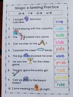 A fun engaging way to practice all the magic e sounds with these six creative worksheets. Excellent for consolidation or revision. Can be used in class or support centres. Magic E Words, Spelling Practice, Phonics Lessons, Support Center, Creative Writing, Sentences, Worksheets, Butterfly, Teaching