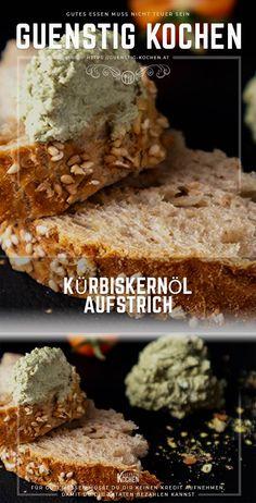 Das wirklich einfache Rezept für diesen Kürbiskernölaufstrich schmeckt nicht nur Genießern aus der Steiermark. Eine handvoll Zutaten und 5 Minuten Zeit ist alles was Du dafür brauchst. So geht günstig kochen par excellence. #food #recipes #rezepte #yummy #ideen Food Garnishes, Pesto, Snacks, Banana Bread, Dips, Low Carb, Cooking Recipes, Desserts, Dressing