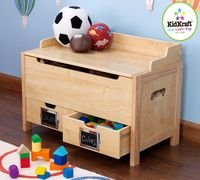Wood toy box with bottom drawers