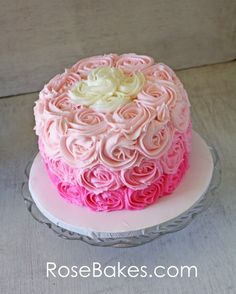 Pink Ombre Ruffles  Roses 1st Birthday Cakes (and Cookies) - Rose Bakes