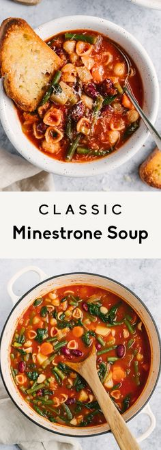 Vegetarian minestrone soup packed with veggies like celery, carrots, green beans and spinach and simmered in a flavorful, Italian seasoned tomato broth. Use your favorite noodles in this minestrone soup recipe and pack in the protein with kidney beans! Delicious with a sprinkle of parmesan cheese and a side of garlic bread. #minestrone #soup #healthylunch #healthydinner #souprecipe #vegetarian #vegan Classic Minestrone Soup Recipe, Vegetarian Minestrone Soup, Vegetarian Recipes, Cooking Recipes, Vitamix Recipes, Keto Recipes, Soup And Salad, Recipes, Vegetarian Cooking