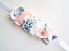 Couronne, filles Floral Hairband, Toddler fleur bandeau bébé fille fleur couronne de fleurs, feuilles de bandeau de fleurs, couronne florale de filles, Silver