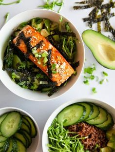 These Asian Salmon Bowls are my new addiction!! Served over brown rice and topped with cucumbers, avocado and sprouts and drizzled with a soy-wasabi vinaigrette – SO good!
