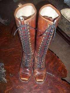 RARE-SEXY-FRYE-WHISKEY-TALL-VINTAGE-LACE-UP-LOGGER-BOOTS-WOMANS-6-5-BLACK-LABEL
