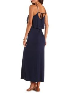 tie-back double flounce maxi dress