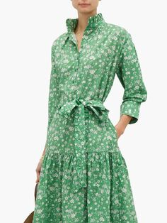 Evi Grintela Floral-print cotton shirtdress Cotton Shirt Dress, Vintage 1950s Dresses, Spring Dresses, Printed Cotton, Shirt Style, What To Wear, Wrap Dress, Floral Prints, Style Inspiration