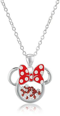 MINNIE MOUSE PINK HAIRBOW Pendant Necklace Silver Chain USA Seller FREE SHIP
