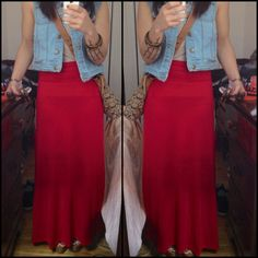 DS is on Instagram @daisy_spade. Follow us! This is our red maxi skirt on one of our followers.