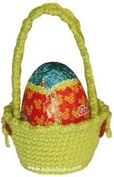 Tutorial: canasta para regalar huevos de chocolate tejida en crochet (amigurumi)!