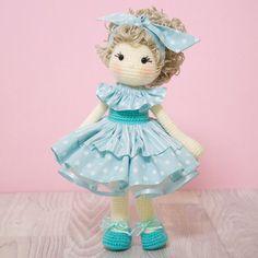 FREE SHIPPING Amigurumi crochet doll - Gorgeous ballerina doll in an aqua striped and polka dot tutu with matching bow