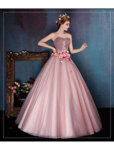 Retro Style Strapless Floral Ball Gown