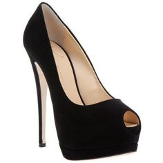 91d0fb9ab48c Black suede platform pump from Giuseppe Zanotti featuring a peep toe