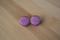 Japanese kimono fabric post earrings  purple with by sarabamanda