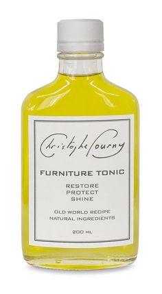 Christophe Pourny Furniture Tonic nurtures wood as it restores the luster and shine that time and sun can diminish. The tonic is made from natural, non-toxic ingredients that are friendly to the environment and sourced in North America. Organic Linseed and Walnut Oils are natural cures for wood worn by time. Essential Glass Bottles, Perfume Bottles, Natural Furniture, Homemade Furniture, Walnut Oil, World Recipes, Natural Cures, Vodka Bottle, The Cure