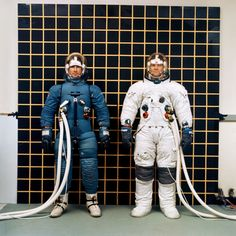Astronauts Irwin and Bull model the Apollo IVA (Intravehicular Activity) and (EVA) Extravehicular Activity) spacesuits. Jan 25, 1968.