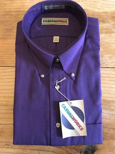 Size 17 1/2 Plum Purple Shirt Dress/Casual Button Down Casual Works 34-35 NWT | Clothing, Shoes & Accessories, Men's Clothing, Dress Shirts | eBay!