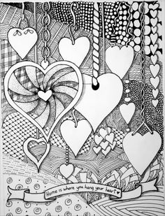 Zentangle expressions: zentangle -home is where you hang your heart sharpie art, pattern Dibujos Zentangle Art, Zentangle Drawings, Doodles Zentangles, Zentangle Patterns, Art Drawings, Zen Doodle Patterns, Drawing Art, Heart Coloring Pages, Adult Coloring Pages