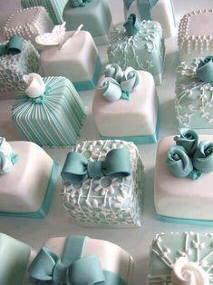 White and blue mini cakes