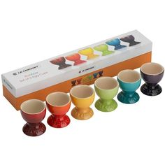 Le Creuset Rainbow Egg Cup Set Of 6 ($32) ❤ liked on Polyvore featuring home, kitchen & dining, multi, le creuset stoneware and le creuset
