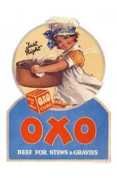 Oxo For Stews And Gravies Print - Vintage Advertising Posters - Retro Posters iPosters Vintage Food Posters, Vintage Advertising Posters, Advertising Signs, Vintage Labels, Vintage Postcards, Vintage Advertisements, Vintage Ads, School Advertising, Retro Posters