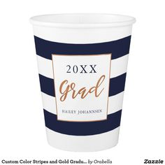 Custom Color Stripes and Gold Graduation Paper Cup Paper Napkins, Paper Plates, Graduation Party Supplies, Summer Picnic, Party Tableware, Color Stripes, 3 D
