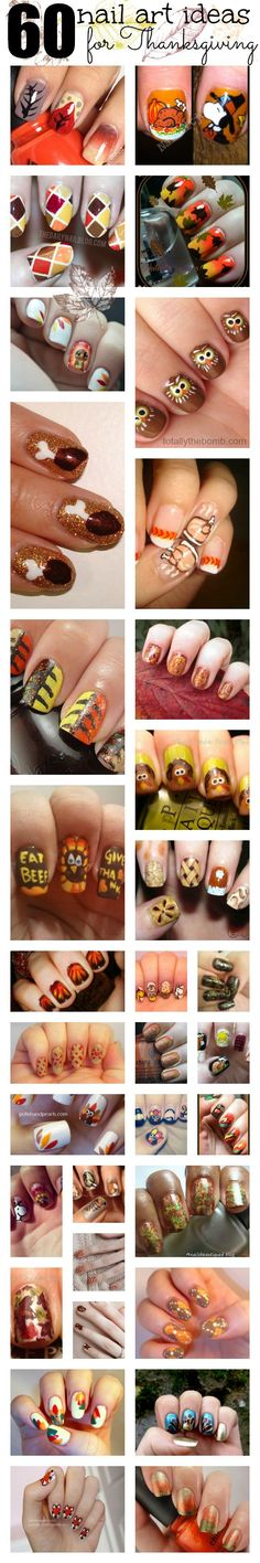 60 Thanksgiving Nail Art Ideas. Turkeys, Leaves, Fall Scenes, Thanksgiving Dinner, Thanksgiving Feast, Snoopy Thanksgiving, they're all there. I can't wait to try the Turkey Leg Nails!