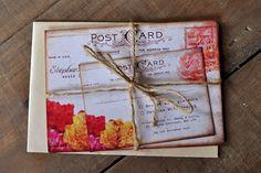 Shabby Chic Vintage Postcard Wedding Invitation - Feel Good Wedding Invitations