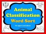 Animal Classification Word Sort