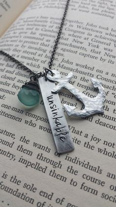 www.MyBellaMarketplace.com  #MyBellaMarketplace  Unsinkable Custom Hand Stamped Inspirational Neckace with Wire Wrapped Blue Chalcedony Stone and Hand Hammerd Anchor by MyBella
