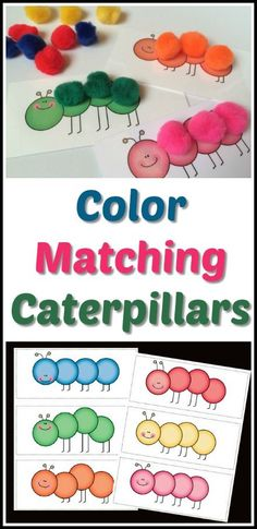 "Color Matching Caterpillars - PDF - Toddler - Preschool - Montessori - Print and cut the caterpillars out so children can practice color matching, 1:1 correspondence, counting, fine motor skills and creativity. Shown in the last photo is just one idea - using color poms to make the caterpillars ""come alive!"" Once printed, each card is 8"" x 3.25"" Laminate caterpillar cards for durability. #preschool #printable #ad"