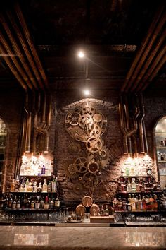 """Basement Speakeasy; can we integrate the existing mechanical into the design e.g. 'The Boiler Room"""" Victoria Brown Bar, Buenos Aires, Argentine."""